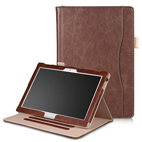 Xuanbeier Hülle Multifunktional Kompatibel mit Lenovo Tab4 10/Tab 4 10 Plus/Tab E10 TB-X104 10.1Zoll Tablette mit Multi-Winkel & Handhalter, Braun