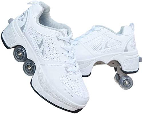 Rollschuhe Madchen Schuhe Mit Rollen Verstellbar Rollschuhe Kinder Inline-Skate, 2-in-1-mehrzweckschuhe, Quad-rollschuh,White-33