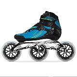 Bont Inline Skates | Inline Speed Skating Racing | Semi Race Skate Boot + CXXV Black Frame + 125mm Elemental Wheels + ABEC7 Bearings | Vegan | Youth - Boys - Girls - Men - Women (Black, Bont 6)