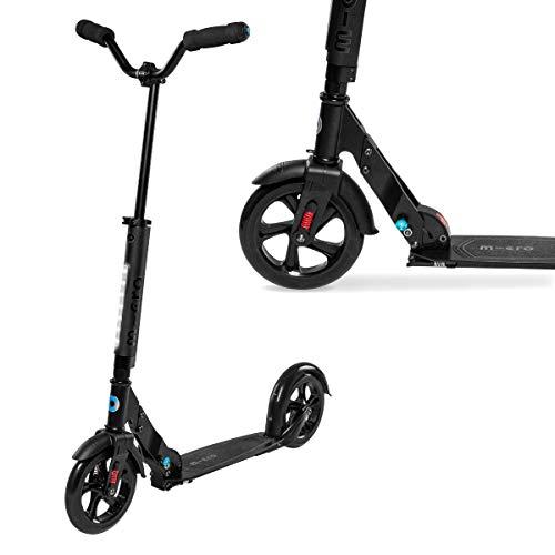 Micro Kickboard - Urban - Micro scooter plegable de dos ruedas, diseño suizo para adolescentes y adultos con ruedas grandes y manubrio estilo Chopper para mayores de 13 años (negro)