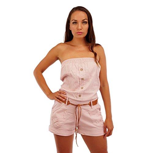 10002 Fashion4Young Leichter Damen Jumpsuit kurzer Overall Shorts Bandeau-Oberteil Baumwolle (36/38, altrosa)