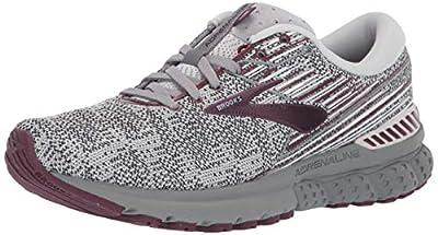 Brooks Womens Adrenaline GTS 19 Running Shoe - Grey/White/Fig - B - 11.0