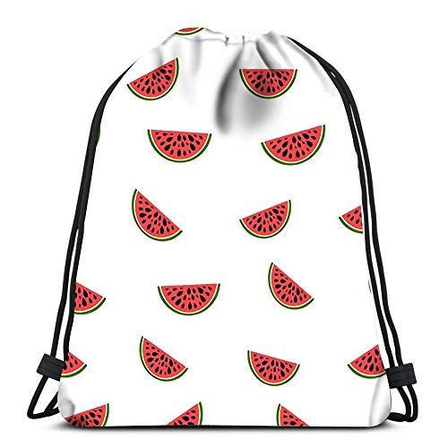 WH-CLA Unisex Drawstring Backpack,Geometrische Wassermelonenscheiben Design Sommer Einladung Tren Sport Tunnelzug Gymsack Stilvoll Rucksack Beutel Tasche Bequem Kordelzug Rucksack