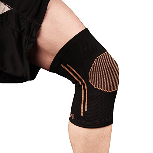 Copper D Copper Compression Knee Sleeve - Rayon from Bamboo Charcoal Copper Infused Knee Support Brace - Size Large - Extra Large - All Black Copper - 1 Pack