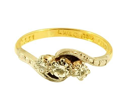 Antieke 18Ct Geel Goud Palladium 0.25ct Diamant Drie-Steen Ring (Maat I1/2)