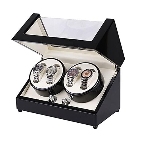 ANTLSZH Devanadera de Reloj con Almohada de Cuero Flexible para Reloj Caja de devanadera de Reloj para Hombre con 4 Posiciones de balanceo y 6 Posiciones de visualización de Reloj