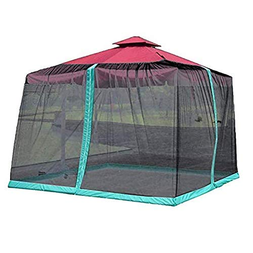 Outdoor Patio Tent Mosquito Net Roman Umbrella Cover, Bug Netting Cover for Patio Table Umbrella Garden Deck Furniture Zippered Mesh Enclosure Cover,Black