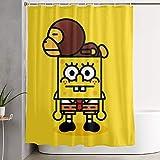 CDMT-XU1 Duschvorhang niedlichen Spongebob Kunstdruck, Polyester Stoff Badezimmer Dekorationen Sammlung mit Haken 60X72 Zoll
