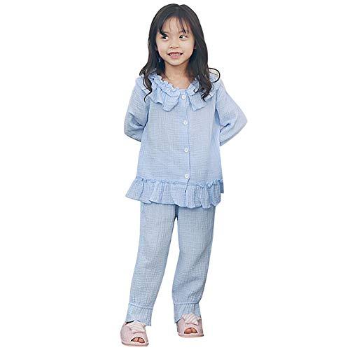 CLELLA 女の子 パジャマ ガールズ 長袖 セット ルームウェア かわいい ナイトウェア 子供服 キッズ ゆったり 部屋着 寝間着 秋 肌着 快適 肌触りがいい 100CM-140CM (青, 130)