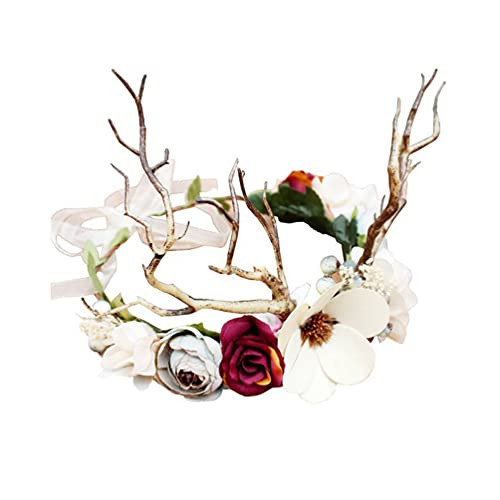 Beaupretty Diadema de Cuerno de Navidad Flor de Reno Tiara Tiara de Navidad Aro Tocado de Hada de Navidad Cosplay Disfraz para Mujeres Nias