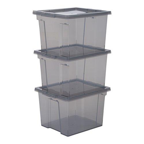 IRIS, 3er-Set Aufbewahrungsboxen / Kisten mit Deckel / Stapelboxen 'Useful Storage Box', USB-S, Kunststoff, transparentes Grau, 13 L, 24 x 29 x 18,5 cm
