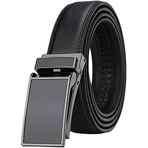 HIMI Herren Comfort Echtleder Ratsche Kleid Gürtel mit automatischer Klickschnalle, Herren, Style 29-schwarz, Suit Pant Size 28