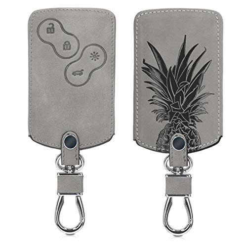kwmobile Car Key Cover Compatible with Renault 4 Button Car Key (only Keyless Go) - Synthetic Nubuck Leather Fob Cover - Pineapple shrub Grey