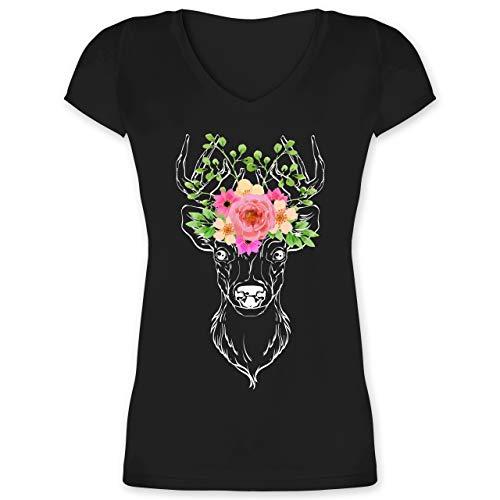 Oktoberfest & Wiesn Damen - Hirsch mit Blumengeweih - weiß - L - Schwarz - Tshirt v Ausschnitt Trachten - XO1525 - Damen T-Shirt mit V-Ausschnitt