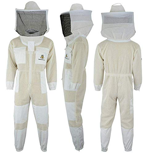 Bee Suit SRV- 3X Capas Ultra Ventilada Protectora Unisex Tela Blanca Malla Traje de Apicultura Traje de Apicultor Velo Redondo (S)