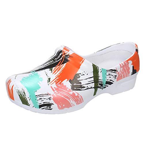 Walory Zueco de jardín,Zuecos de jardín Estampados Unisex Zapatos de EVA Impermeables y Ligeros Zapatillas de enfermería Antideslizantes Sandalias de Mujer o Hombre para el Trabajo en casa
