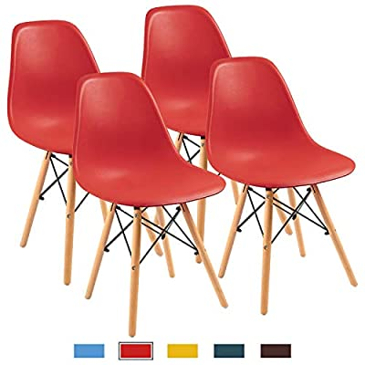 Furmax Pre Assembled Modern Style Dining Chair Mid Century Modern DSW Chair, Shell Lounge Plastic Chair for Kitchen, Dining, Bedroom, Living Room Side Chairs Set of 4(Red)