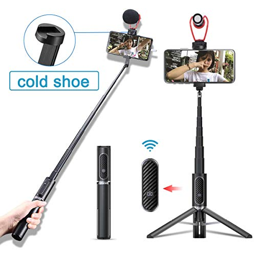 Selfie Stick for iPhone Cold Shoe, ULANZI Lightweight Extendable Phone Selfie Tripod Stick with Remote for iPhone 11 Pro Max/Xs MAX/XR/XS/X/8/8 Plus/7/7 Plus/6s, Galaxy S10/S9/S9 Plus, Google Pixel