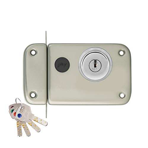 Godrej Locking Solutions and Systems Ultra XL+ Rim Deadbolt 2C Lock for Home Entrance Door with Inside/Outside Opening Mechanism (Satin Steel)