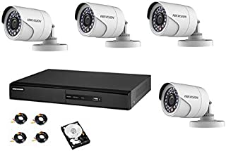 Hikvision CCTV Set with 4 Channel  DVR K1 Hard disk 3T 4 outdoor camera cameras and 4x20 meter cables 1280x1080 P