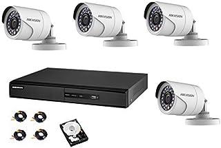 هيكفيجن كاميرات مراقبة مع جهاز تسجيل من أربع قنوات كي 1 هارديسك 3تيرا 4 خارجي كاميرا كاميرات و4x20 متر أسلاك توصيل1280x1080