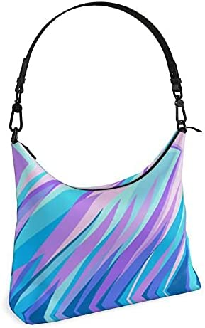 The Fashion Access Blue Pink Abstract Eighties Square Hobo Bag