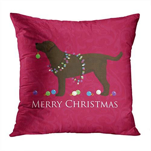 Wesbin Plush Chocolate Lab Merry Christmas Design Hidden Zipper Home Sofa Decorative Throw Pillow Cover Cushion Case Square 20x20 Inch Two Sides Design Printed Pillowcase