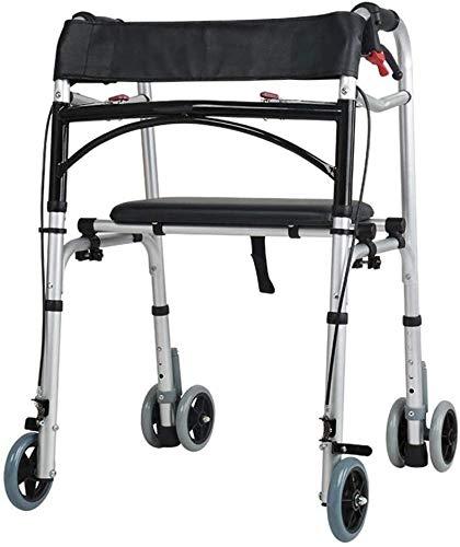 SISHUINIANHUA Andador SIDA Drive Medical Andador Plegable Walker con Doble Freno Sistema de Movilidad de Rolling Regulable en Altura 4 Ruedas Usados para Mayores Que recorren