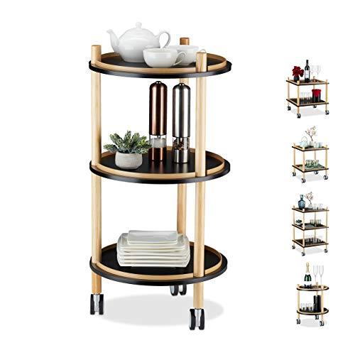 Relaxdays Bijzettafel met wielen, rond, 3 etages, hout, MDF, kleine rolwagen woonkamer, h x d: 79,5 x 40 cm, zwart, 1 stuk