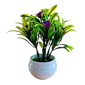 dSNAPoutof Artificial Plant Pot Hibiscus Flower Hotel Garden Decor Plastic Colorful Imitation Flower Pot for Wedding, Home Decor, Party, Purplish Red