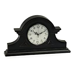 CC Home Furnishings 15 Elegant Black Mantle Clock with Ornamental Hands