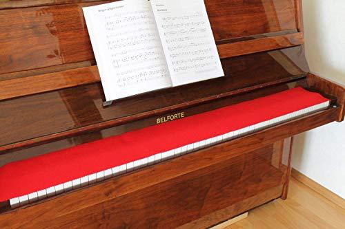 Klavierläufer Tastenläufer Tastaturabdeckung für Klavier Tastendecke 100% Wolle Rot 000