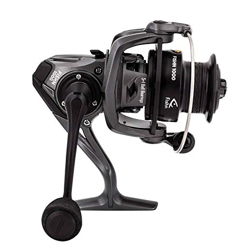 FISHN Reel 1000 Carrete Giratorio - Ideal para Cualquier caña con un Peso de Lanzamiento Entre 20-100 gr o como caña de Remolque, Lucio, bagre, lucioperca, Bacalao o salmón