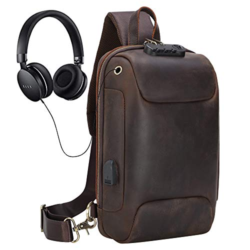Genuine Leather Sling Bag for Men Anti-theft One Strap Crossbody Chest Shoulder Backpack with USB...
