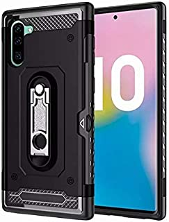 AXRXShangHang Kickstand Design Twofold Layer Heavy Duty Shockproof Case Cushy TPU Case for Samsung Galaxy Note 10, for Samsung Galaxy Note 10 Case (Color : Black)