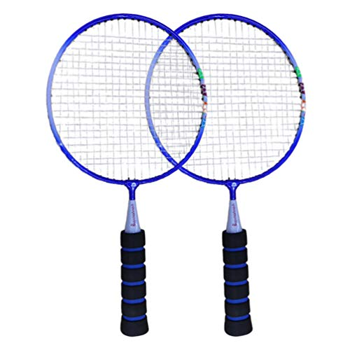 NUOBESTY 1 Pair Badminton Racket, Mini Badminton Racquet for Children Funny Badminton Indoor/Outdoor Sport Game (Blue)