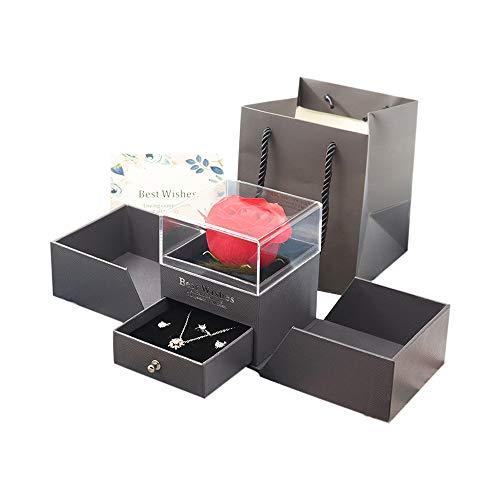 IWILCS Caja de regalo de rosa roja, rosa preservada hecha a mano, caja de regalo de joyería de rosas, flores eternas para los amantes, regalo para el día de San Valentín, día de la madre, Navidad