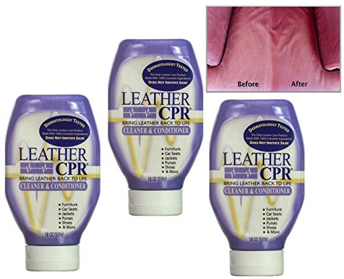 Leather CPR Cleaner & Conditioner By CPR Cleaning Products (Value 3-Pack of 18oz Bottles) Restores & Protects Leather Furniture, Purses, Car Seats, Jackets & More