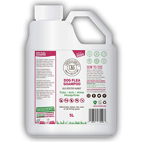 Flea Shampoo For Dogs - Sensitive Itchy Skin Dog and Puppy Grooming - Medicated Fleas Treatment (5 Litre)