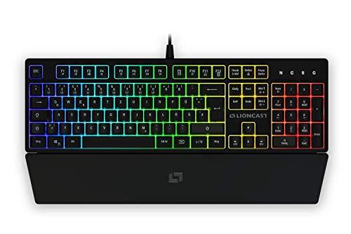 Lioncast LK100 RGB Gaming Keyboard für PC/Laptop/PS4/PS5, 19-Tasten-Rollover Anti-GHOSTING-Funktion, RGB mit 16.8 Millionen Farben, LED, USB, QWERTZ, Tastatur mit Handballenablage