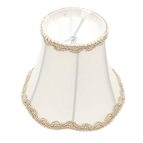 SOLUSTRE Lámpara Vintage de Tela de Pantalla con Forma de Campana Real Reemplazo de Pantalla de Lámpara Decorativa Accesorios para Lámpara de Mesa Lámpara de Pie Aplique Blanco