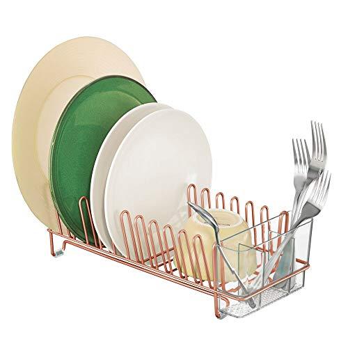 mDesign - Afdruiprek - voor gootsteen in de keuken - voor borden en bestek - metaal en plastic/met bestekbakje - pc koper/doorzichtig