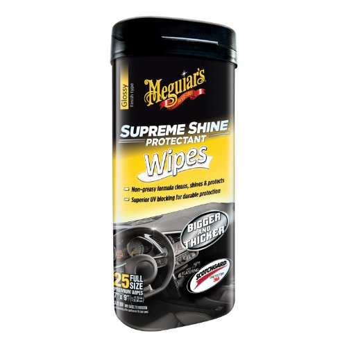 Meguiar's Supreme Shine Protectant Wipes – Interior Cleaner Wipes for High Shine – G4000, 25 wipes