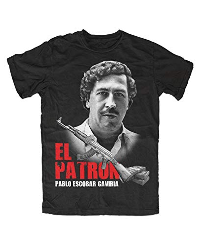 El Patron Pablo Black T-Shirt Mens Fashion T Shirt Tops Clothing, Kult Dope Crime Cartel Drugs Medellin,Kolumbien,Escobar
