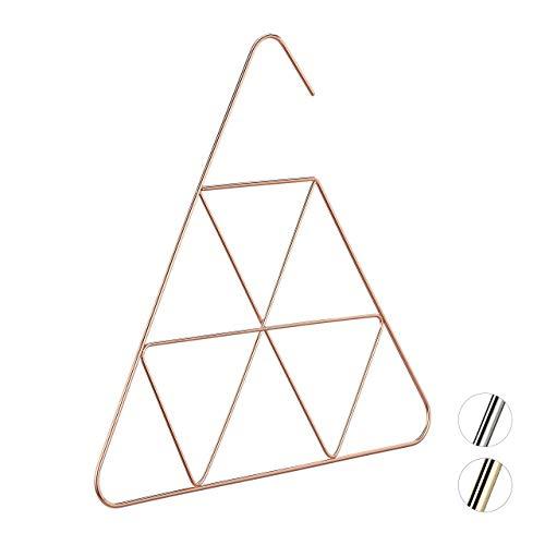Relaxdays Schalbügel, edles Design, Bügel für Schal, Tuch, Accessoires, 3 mm dünn, platzsparend, Metall Bügel, kupfer