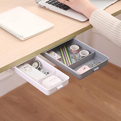2 Pezzi Cassetti portaoggetti sotto il tavolo, Cassetto per Autoadesiva Sotto la Scrivania Organizzatore Desktop Nascosto di Archiviazione per Ufficio, Scrivania, Portaoggetti Sotto la Scrivania