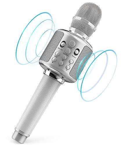 Wireless Karaoke Microphone, Bluetooth 5.0 Singing Duet Wireless Karaoke Reverb Machine 3000mah Handheld Mic Speaker Machine for Phone/PC/TV, Recording Mic for YouTube,Interview,Video,Party