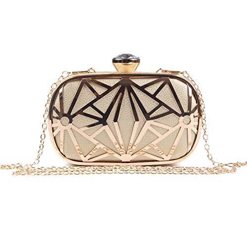LUI SUI Frauen Kunstleder Metall Hohl Clutch Bag Exquisite Abend Handtaschen Schultertasche für Party Cocktail Hochzeit Gold