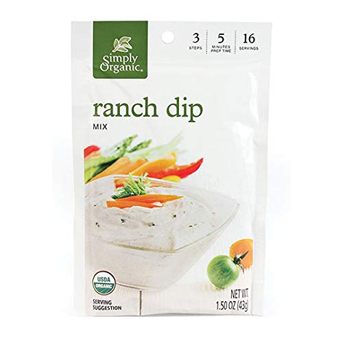 Simply Organic Ranch Dip, Certified Organic, Gluten-Free | 1.5 oz | Pack of 3