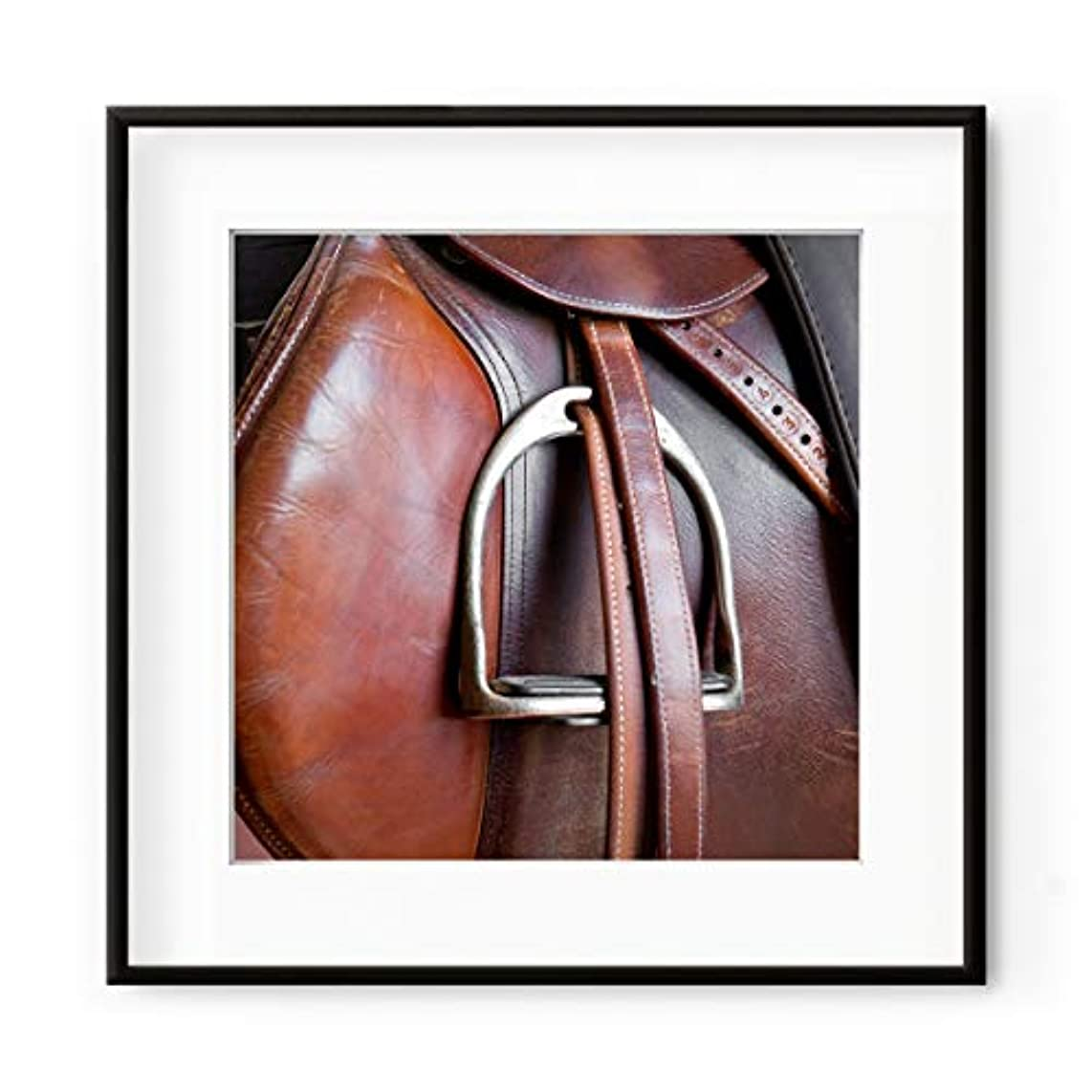 Horse Riding White Varnished Wooden Frame with Mount, Multicolored, 50x50